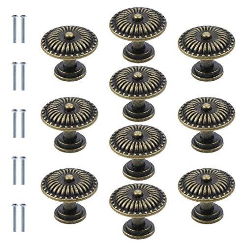 10 pomos redondos de bronce antiguo para armario, 24 mm, estilo vintage, para cajón de cocina, armario de cocina, cajón, tirador de cajón de bronce retro, pomos de hardware para armario de cajón