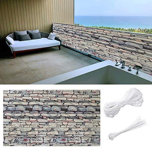 Aiyaoo Balkonbespannung Sichtschutz 80x750cm Wasserabweisend Sonnenschutz Balkonverkleidung mit Ösen Nylon Kabelbinder Kordel für den Gartenzaun oder Balkon Sandstein