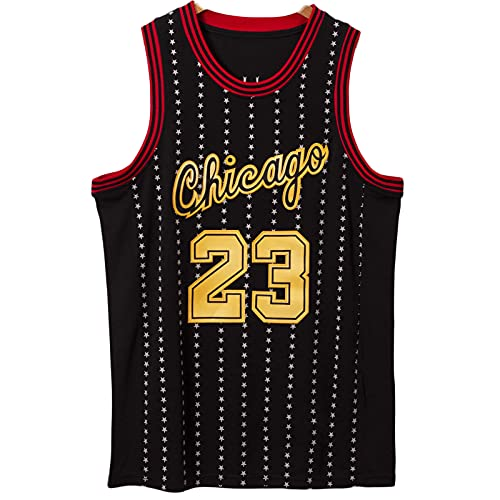 Jerseys de Baloncesto para Hombres, Chicago [bʊlz] # 23 Jordan, Deportes Negros Top Top Vestir Chaleco Transpirable Suelto Comodidad Camiseta sin Mangas XXL