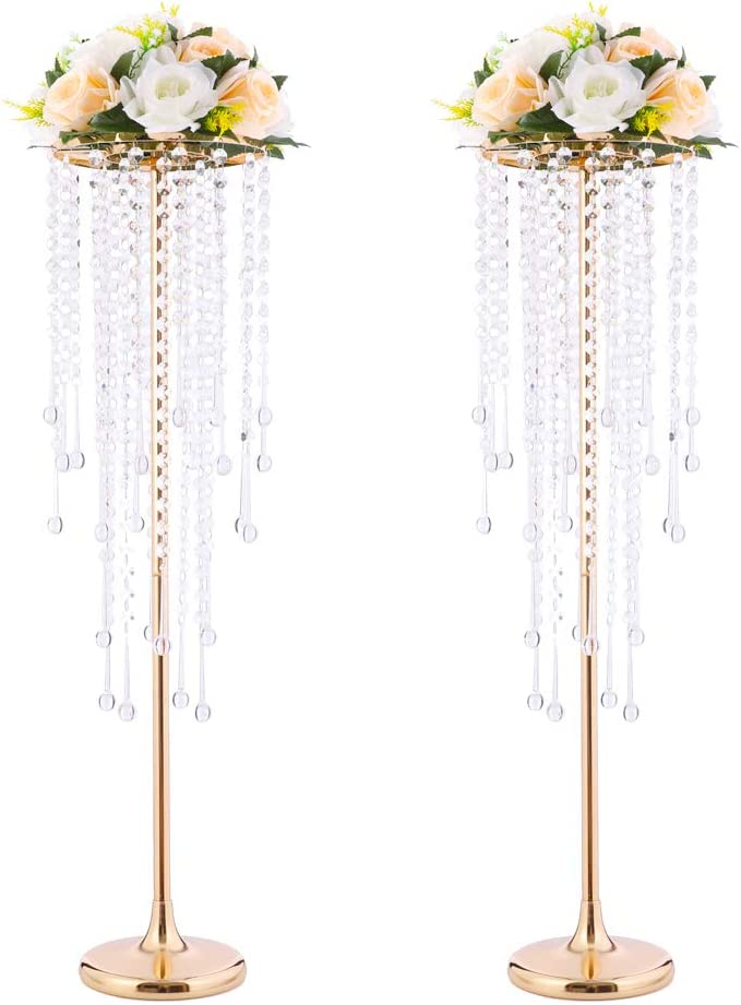 Wedding Center Stand, Golden Tall Metal Flower Candle Holder with Crystal 2-Piece Movable Lead Road Candle Holder, Used for Wedding Party Table Decor