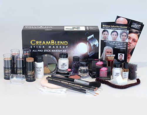 Mehron CreamBlend Stick All Pro Makeup Kit   Face, Hair, Eye Contouring, Stage, Films, TV, Video, Photography, Theatrical Makeup & More   Long Lasting Professional Set (Olive)