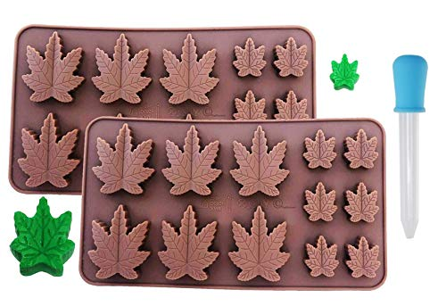 SET OF 2 X Marijuana Silicone Lollipop Gummy Brownies Hard Candy Cannabis Weed Edible leaf Mold Ice Cube Marijuana Chocolate Soap Candle Tray Party maker With a Bonus Dropper