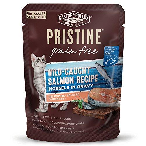 Castor & Pollux Pristine Grain Free Wild-Caught Salmon Recipe Morsels in Gravy Cat Food Pouches, (24) 3oz cans