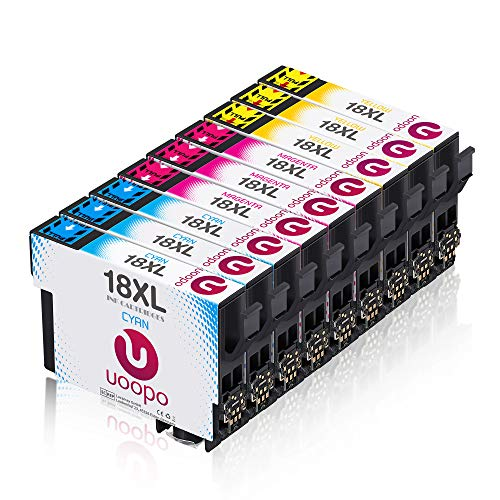 Uoopo Reemplazo para cartuchos de impresora Epson 18XL 18, XP-205 XP-215 XP-225 XP-305 XP-302 XP-405 XP-202 XP-422 XP-402 XP-322 XP-102 XP-312 XP 412 Pack de 9 Cyan Magenta 3 3 3 Amarillo