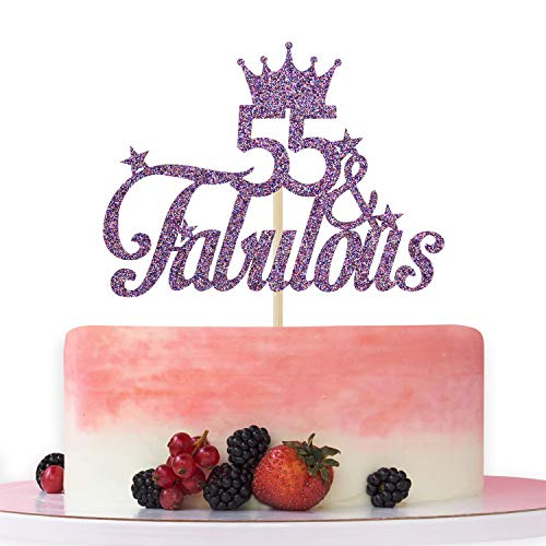 Purple Glitter 55 & Fabulous Cake Topper - 55th Birthday Cake Decorating - Happy 55th Anniversary/Birthday Party Decoration Supplies