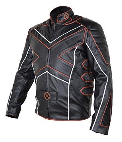 Classyak - Chaqueta Moto de Cuero para Hombre Xmen Fashion