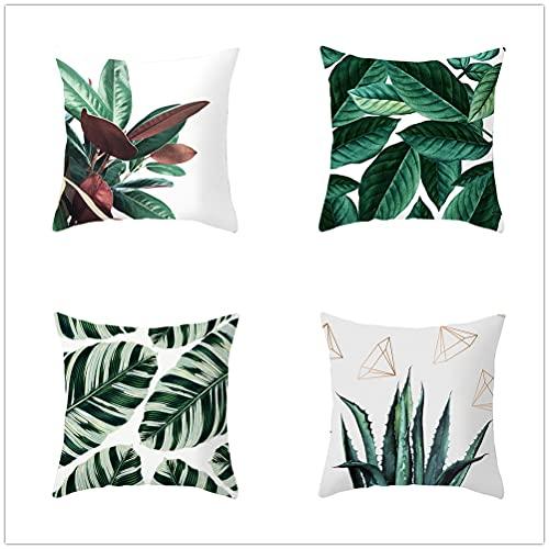 Niuqichongtian Funda de almohada de piña de plantas tropicales de 4 piezas conjunto de cojín de sofá de coche decoración del hogar TPR037-1