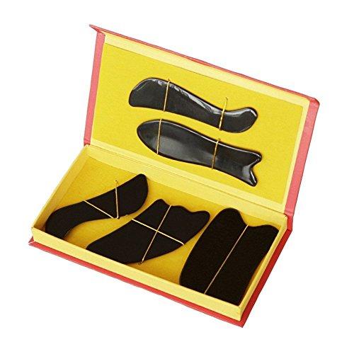 EQLEF Natural Water Buffalo Horn Gua Sha Guasha Massage Tool Board (five pcs set - black)
