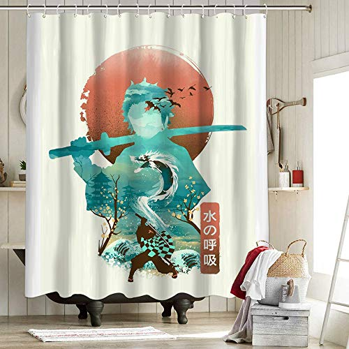 Demon Slayer Fabric Shower Curtain Polyester Fabric Shower Curtain Set Illusion Negative Space Breath Of The Water 72X72 Inch