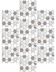 GARNECK 10 Stks Marmeren Tegel Behang Verwijderbare Zelfklevende Marmeren Getextureerde Muursticker Voor Keuken Backsplash Badkamer