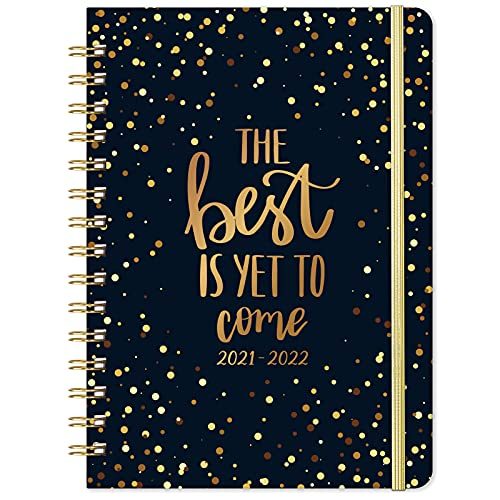 """2021-2022 Planner - July 2021- June 2022 Weekly & Monthly Planner with Flexible Hardcover, 8.4"""" x 6.3"""", Strong Twin- Wire Binding, Inner Pocket"""