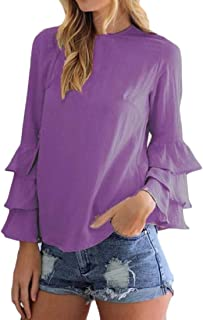 OTW Women's Chiffon T-Shirt Lightweight Ruffle Solid Color Plus Size Shirt Blouse Top