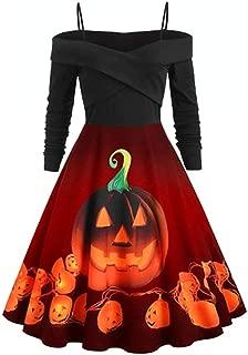 UONQD Halloween Dress 2019,Women Casual Halloween Day Long Sleeve Print Dress Plus Size Party Dress