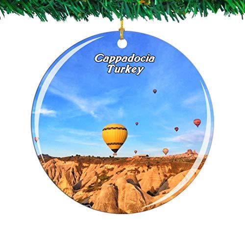 Weekino Globo de Aire Caliente de Turquía Capadocia Navidad Ornamento Ciudad Viajar Recuerdo Colección Doble Cara Porcelana 2.85 Pulgadas Decoración de árbol Colgante