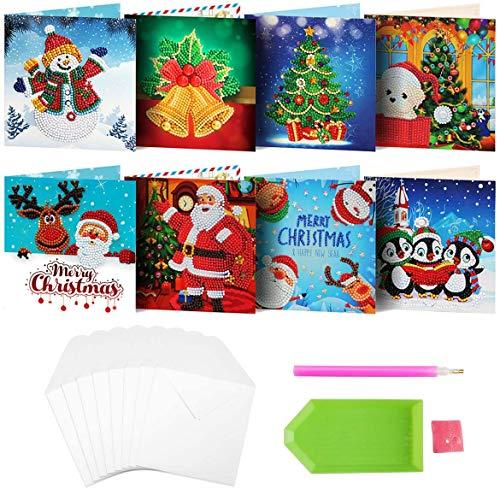8 paquetes de tarjetas de Navidad de pintura de diamante por números árbol de Navidad Papá Noel Año Nuevo Tarjeta de felicitación de Navidad Pegatinas de Navidad Regalos (tarjetas06)