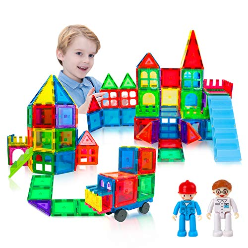 GAMZOO Magnetic Blocks-Super House! Magnetic Building Tiles for Boys & Girls 3 4 5 6 7 8 Years Old Magnet Stacking Blocks STEM Construction Toys Gifts for Preschool Toddlers Kids Age 3+ (60pcs)