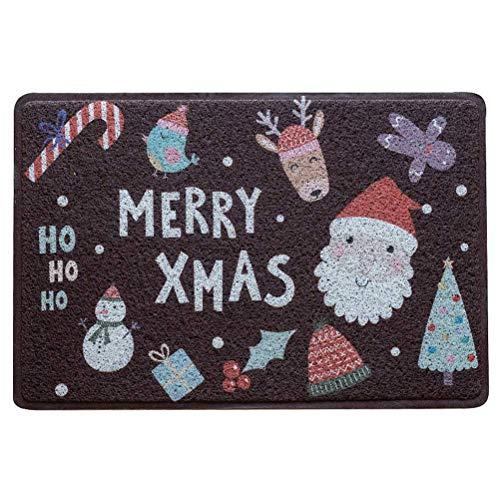 GOHHK Alfombrilla Antideslizante para Suelo navideña de 45x75 cm, Felpudo de Bienvenida Interior navideño para Sala de Estar, Cocina