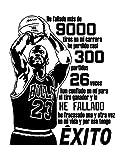 Vinilo decorativo de Michael Jordan'He fallado más de 9000 tiros'. Medidas: 60x80cm