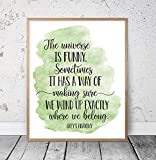 8 x 12 Inch Frame Wood Sign, The Universe Is Funny Grey's Anatomy Quotes Inspiring Wall Art Nursery Prints Motivational Poster Dorm Room Decor Teen Room Wall Art Wood Pallet Design Wall Art Sign Plaque with Frame wooden sign