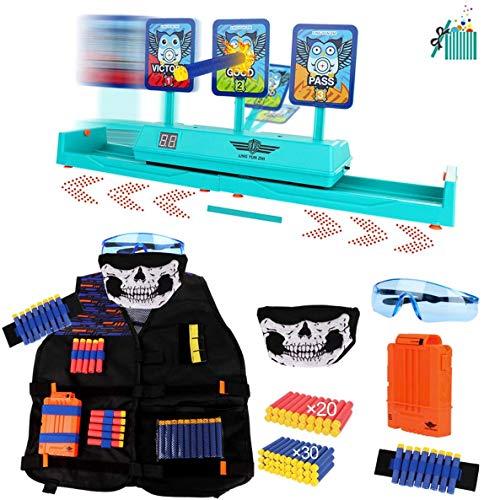OFUN Chaleco táctico para niños 55 Piezas + Objetivo Digital móvil para Nerf, Juego de Regalo de Juguete Serie de Pistolas Nerf, Objetivos Digitales y Kit de Chaleco táctico para niños