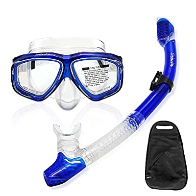 Uniswim Snorkeling Package Set for Adults, Dry Snorkel Mask Purge Valve Tube Snorkel Silicone Mouthpiece, Anti-Fog Coated Glass Diving Mask Clear View Leakproof Easy Breathing - Blue