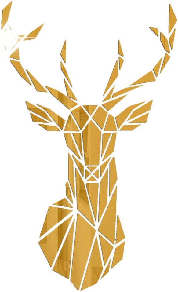 Adhesivo decorativo para pared con efecto espejo 3D acr/ílico para dormitorio sala de estar dise/ño de ciervo