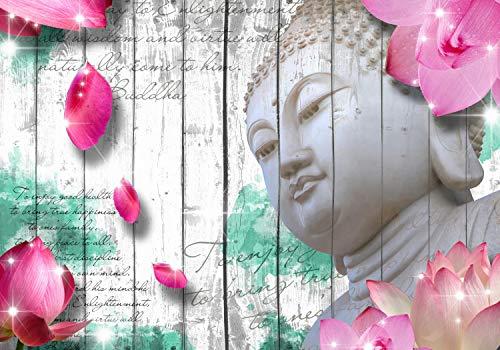 wandmotiv24 Fototapete Holz Blüten Buddha Grün XXL 400 x 280 cm - 8 Teile Fototapeten, Wandbild, Motivtapeten, Vlies-Tapeten Zaun, Blumen, Schrift M1589