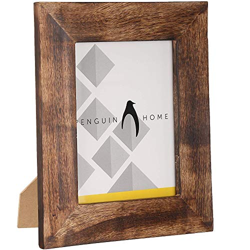 """Penguin-Fotorahmen für Zuhause, Holz, verbranntes Braun, 24 x 17 cm (7 \""""x 5\"""")"""