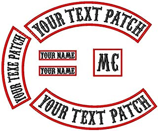 6 Pack Custom Embroidered MC/RC Biker Patches Nametapes, Personalized Embroidery Rocker Patch Rider Motorcycle Patches Back Name Tags Collars Patch Appliqued/Iron-on/Sew-on Veterans Vest or Jacket