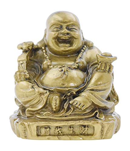 Mandala Crafts Laughing Happy Small Buddha Statue Figurine for Lucky Home Décor Gift Gold Color
