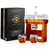 NutriChef Glass Whiskey Decanter with Glasses -1100ml Barrel Whiskey Carafe Alcohol Decanter Set