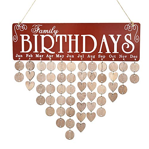 JHYQ-US [Mom Birthday Gifts] Family Birthday Calendar Wooden Crafts Wall Hanging Plaque Board for Family Friends Birthday Reminder with 50 Pieces Wooden DIY Discs Hanging One by One