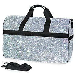 Silver Pearl Sequins Sports Gym Duffel Bag