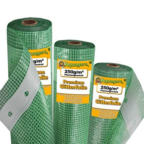 Aquagart Gewächshausfolie Gitterfolie Frühbeetfolie Gartenfolie 250g UV Stabil grün verschiedene Breiten und Längen (10m, grün/transparent 2,0m breit)