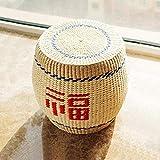 ZXLRH Taburete tapizado Taburete para pies, taburetes de Paja de Madera Maciza...