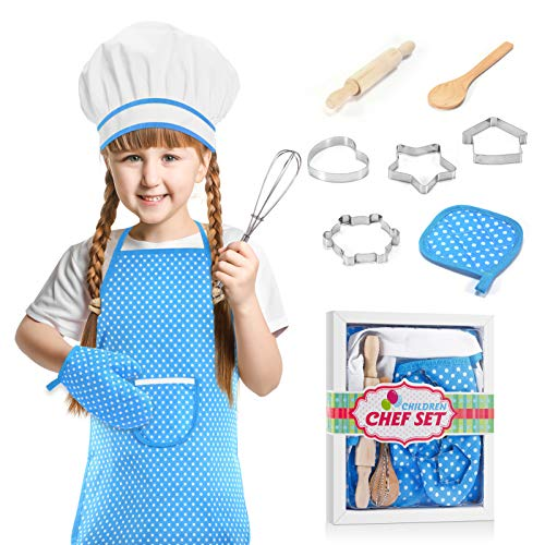 Gifts for 3-8 Year Old Boys, Kids Cooking and Baking Sets for 3-8 Year Old Kids Toys for Kids Age 3-8 Chef Set and Apron with Oven Mitt Halloween Christmas for Girls Boys Gifts Age 3-7, Blue TKCSFA01