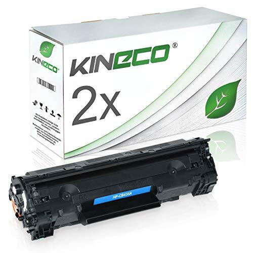 Kineco 2 Toner kompatibel zu HP CB435A 35X für HP Laserjet P1005, P1006, P1007, P1008 - Schwarz je 1.750 Seiten