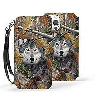 Camo Wolf iphone 12pro ケース 手帳型 かわいい シンプル 財布型 携帯ケース 軽量 薄型 耐衝撃 PUレザー