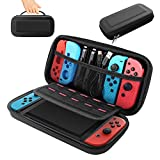 BOOGIIO Nintendo Switch Carrying Case, Hard Shell Travel Carrying Box Case for Nintendo Switch with 10 Game Cards Holders, Portable Pouch for Nintendo Switch Console & Accessories -Black