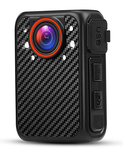 Mini cámara de cuerpo, portátil FHD 1080P cámara de cuerpo humano, con visión nocturna y función de luz rojo/azul para la patrulla de la policía pequeño modelo de cámara de seguridad