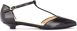 L'ARIANNA Woman's Ballerina in Black Leather with T-Strap