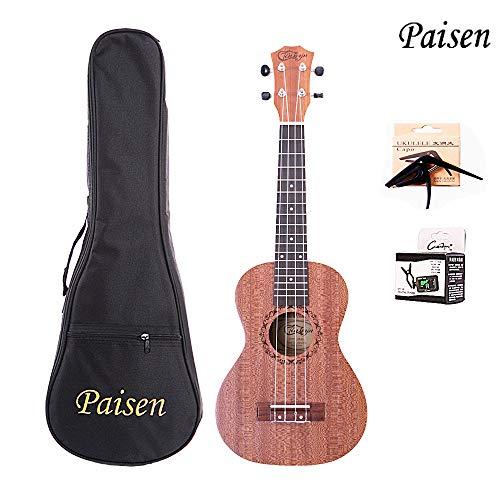 Paisen 23 pollici Mahogany Hawaii ukulele concerto ukulele invia sintonizzatore cartella di spessore borsa del pianoforte