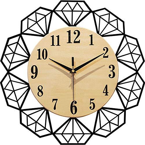 Warm Thuis Diamanten Horloges Mode Model Woonkamer Wandklok Creatieve Persoonlijkheid Van Moderne Minimalistische Houten Klokken (40 * 40CM) Leuk