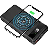 HOKONUI Wireless Portable Chargers, 10W Qi Fast Charge 20000 mAh Power Bank 5 Output USB Type-C LCD Display...