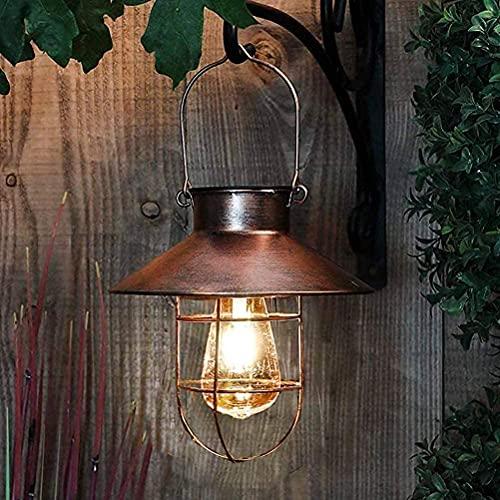 Solarlaterne für Außen,Gartendeko Hängend Vintage Metall Solarleuchten Gartenleuchte mit Warmen LED-Lampen für Outdoor Garten Hof Terrasse Baumdekoration, Wegbeleuchtung Deko(Kupfer)