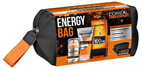 L'Oréal Men Expert Energy Bag, Geschenkset, für Männer gratis Kulturtasche, 24H...