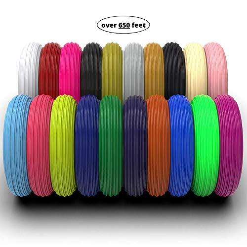 Ataraxia Art 3D Pen Filament (656.17 ft), 1.75mm PLA Filament Pack of 20 Colors, High-Precision Diameter Filament, Each Color 32.8 ft for Total of 656.17 ft