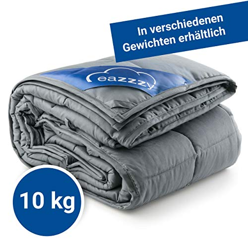 Genius eazzzy Gewichtsdecke 155x220 cm 10kg - Therapiedecke-n mit Glasperlen für Erwachsene gegen Schlafstörung Anti Stress - Bettwäsche schwer Weighted Blanket besseres Schlafen Baumwolle Schlafdecke