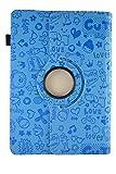 Funda con diseño Original con Dibujos y función Giratoria para Tablet Bq Aquaris E10 10.1' - Azul Dibujos