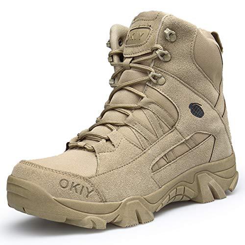Stivali da Trekking Militari Tattici in Pelle Scamosciata da Uomo Scarponcini da Trekking Antiscivolo Resistenti all'Usura Scarpe da Escursionismo da Campeggio all'aperto Alte